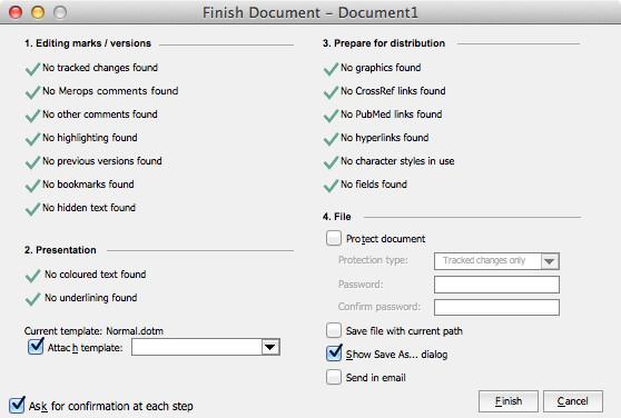Finish Document dialog