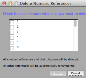 Delete Numeric References dialog