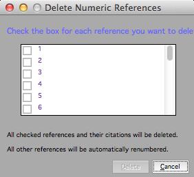 Delete Numeric References dialog