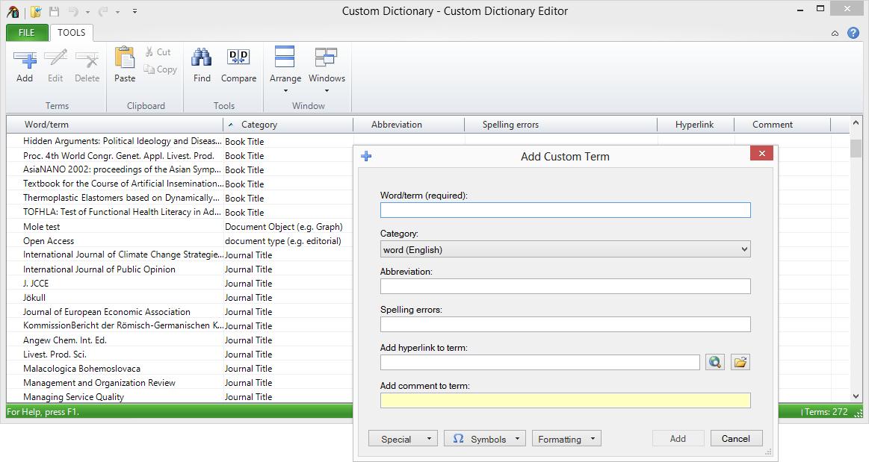 Custom Dictionary Editor