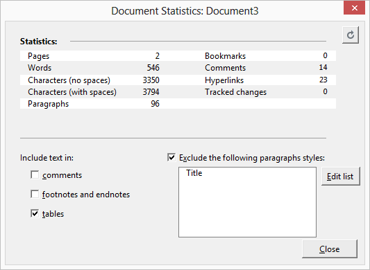 Document Statistics