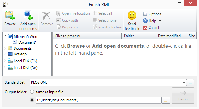 Finish XML dialog