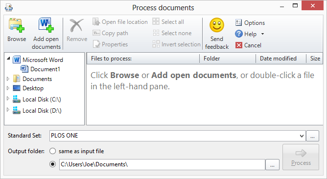 Process Files dialog