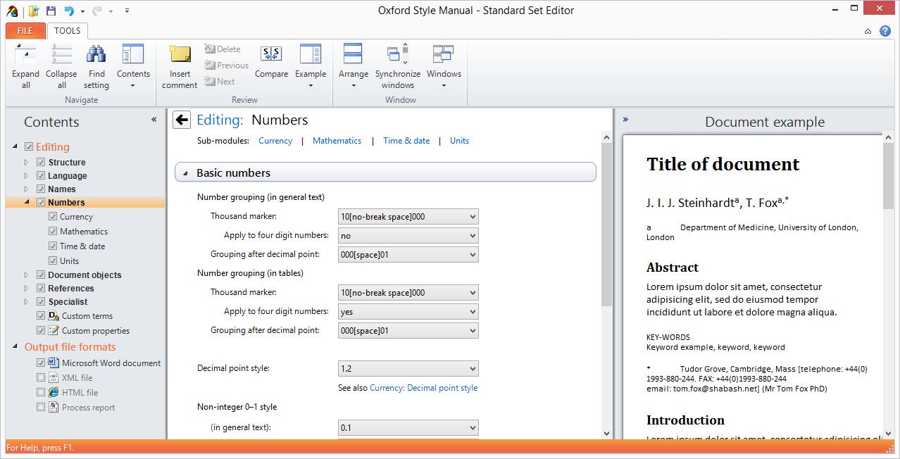 Standard Set Editor screenshot