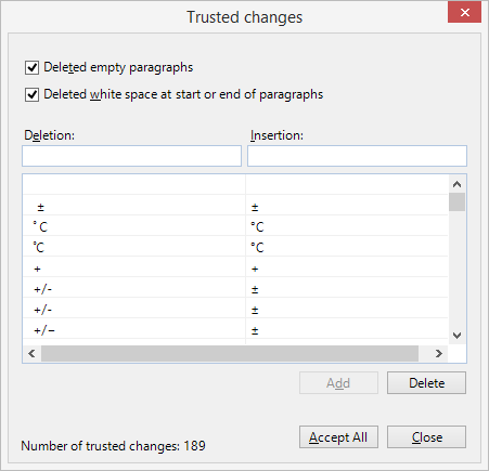 Trusted Changes dialog