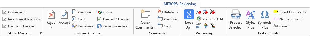 Merops: Reviewing tab