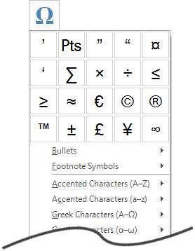 Symbols Plus menu