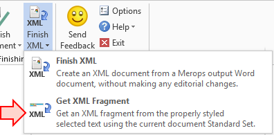 Get XML Fragment button